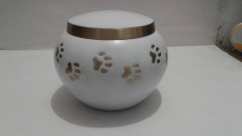 White Paw Print Urn