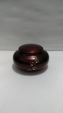 4inch Metallic Red Urn with gold paw prints