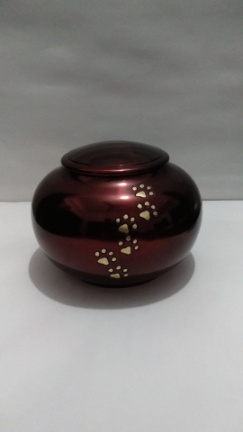Metallic Red Urn with gold paw prints