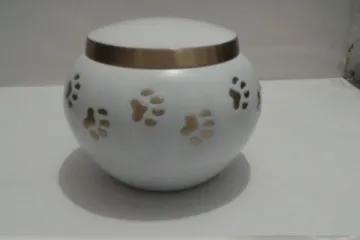 Round white pet urn
